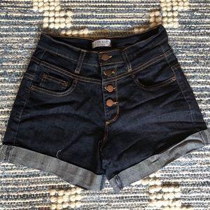 High-waisted stretch denim shorts